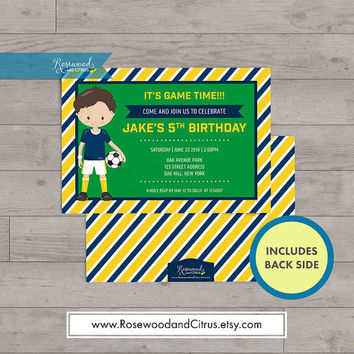 Sports Birthday Invitation, Birthday Invitation For Boys, Football Birthday Invitation, Soccer Birthday Party Invitation, Birthday Printable