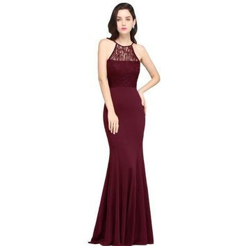 Sexy Cheap Black Lace Long Bridesmaid Dress Halter Sleeveless Prom Dresses Mermaid Party Dress Gowns