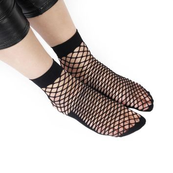 4Types HOT Fashion Women Ladies Fishnet Socks Soft Breathable Ruffle Mesh Socks Punk Sexy Lace Party Travel Ankle Socks
