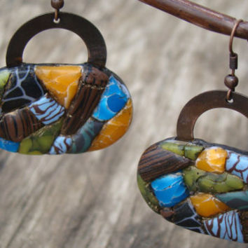 boho earring,polymer clay earrings,long earrings,Dangling Earrings,ethnic earring,handcrafted jewelry,imitation,nature,mosaic jewelry