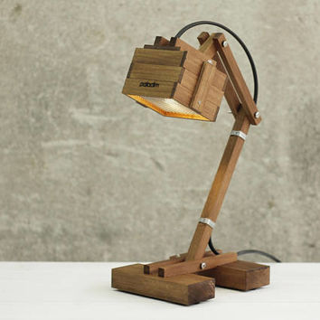 Desk Lamp, Wooden Lamp, Mens Gift, Office Desk Lamp, Geometric Lighting, Unique Design Lamp, Reading Lamp, Work Lamp, Wooden Gift
