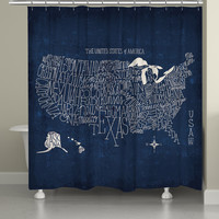Hand Lettered US Map Blueprint Shower Curtain