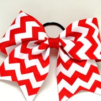 Red Chevron Cheer Bow
