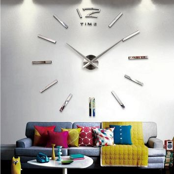3D real big wall clock mirror sticker diy living room decor