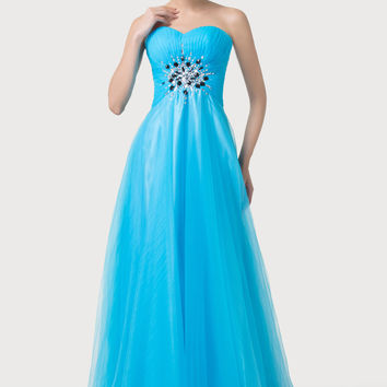 Sky Blue Strapless Beaded Empire Waist Flounce Maxi Dress