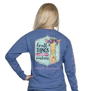 "Simply Southern ""Kind"" Giraffe Long Sleeve Tee"