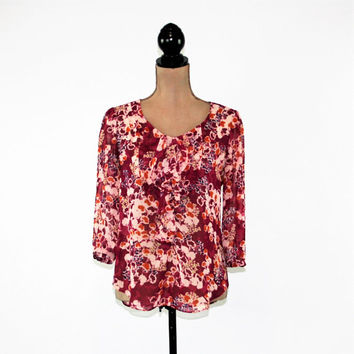 Floral Chiffon Blouse Women Sheer Top Ruffle Boho Clothing 3/4 Sleeve Top Dressy Top Maroon Floral Blouse Vintage Clothing Womens Clothing