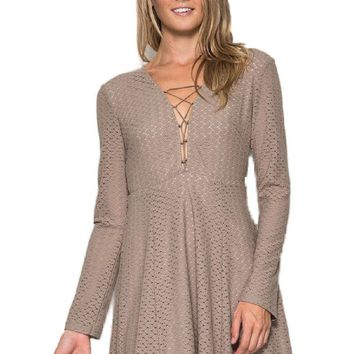 Long Sleeve Lace-up Lace Dress ,Lt Mocha