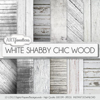 "Digital paper wood ""White Shabby Chic Wood"" white wood backgrounds, real wood texture, white plank, white board, distressed wood, grungy"