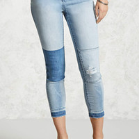 Reworked Patch Cropped Jeans - Women - 2000322835 - Forever 21 Canada English