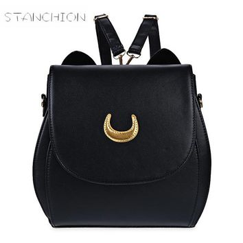 Backpack Faux Leather Women Daily Solid Zipper Shoulder Bag Embossing Sailor Moon Multifunction Luna Cat Shape Bag