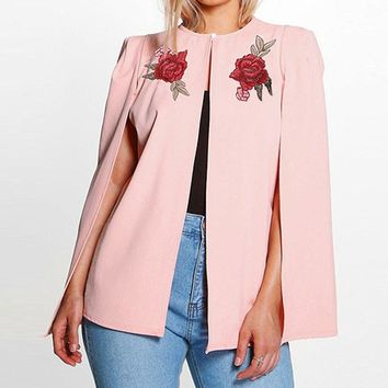 Casual Loose Floral Slit Cardigan Outwear Blazer