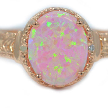 14Kt Rose Gold Plated Pink Opal & Diamond Oval Ring