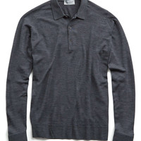 John Smedley Tyburn Merino Polo Sweater in Charcoal