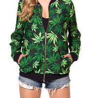 Women Weed Leaf Print 3D Sweatshirts Hoodies Jacket Sweaters Tops