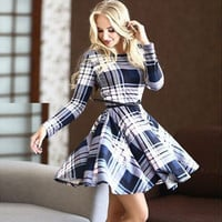 Plaid Long Sleeve Skater Dress