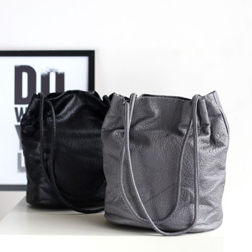 Soft Rinsed Denim One Shoulder Casual Winter Korean Bags [4915806852]