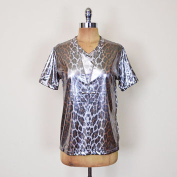 Vintage 90s DKNY Jeans Metallic Silver Lame Liquid Drape Leopard Print Animal Print T-Shirt Blouse Top 90s Grunge Club Kid S Small M Medium