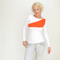 Orange white top color block shirt geometric womens blouse