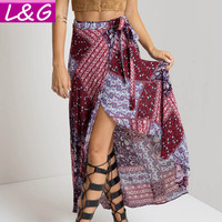 New 2016 Irregular Long Skirt Women Vintage Wine Red Floral Print Side Slit Wrap Maxi Skirt  Boho Summer Beach Skirts 70079