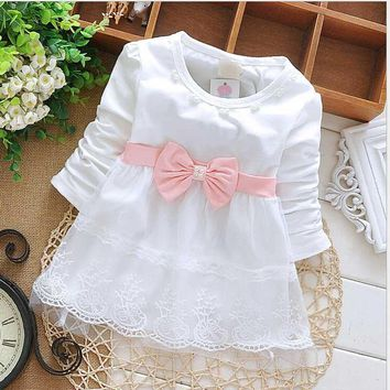 Long Sleeve Baby Girls Dress 2017 Spring Autumn New Baby Girls Clothes Newborn 1 Year Birthday Party Princess Dress