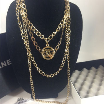 Gold Multi Link Necklace W Chanel Charm (Handmade)