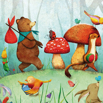 Animals Print Children Decor Nursery Art Multicolored Forest Woodland