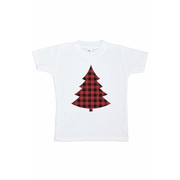 7 ate 9 Apparel Kids Plaid Tree Christmas T-shirt