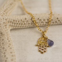 Hamsa necklace, gold hamsa necklace, gold-lace hamsa, delicate hamsa necklace,hand charm, hamsa charm, hamsa pendant, amethyst necklace