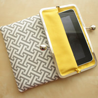 Gray iPad Case or Sleeve with Kisslock Frame - Gray and Yellow - iPad Clutch - Notebook Clutch - iPad Mini
