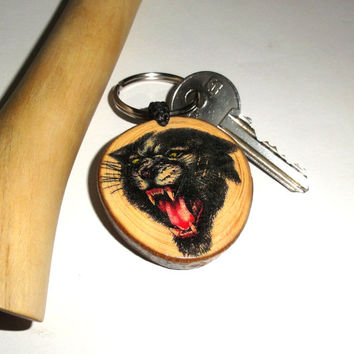 Custom Name Wooden Keychain - Angry Black Cat Gift, Black Panther Gift, Bachelorette Party, Graduation Gift, Bridesmaid Gift