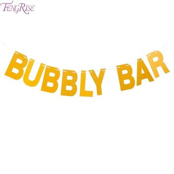 FENGRISE Gold Glitter Bubbly Bar Banner Bridal Shower Bunting Bachelorette Party Girls Night Out Wedding Decoration Party Favors