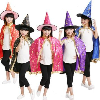 2018 Christmas Costumes Witch Wizard Cloak Cosplay with Hat Cap Stars New Year Halloween Fancy dress Boy Girl Kids Children