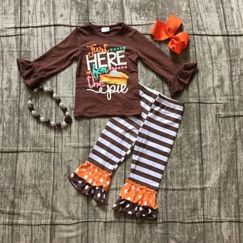 new thanksgiving Fall/winter baby girls outfits children clothes just here for the pie cotton ruffle boutique match accessories