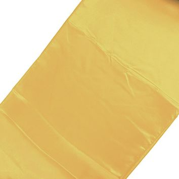 Satin Fabric Table Runner, Gold, 14-Inch x 108-Inch