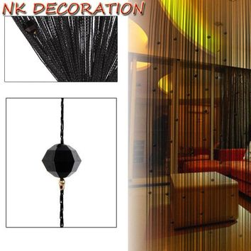 NK DECORATION Romantic Black Beads Design Crystal Curtain String Door Window Curtain Divider Partition Tassel Decor