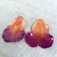 The Big Purple and Pink Rose Petals Resin Ear Weights