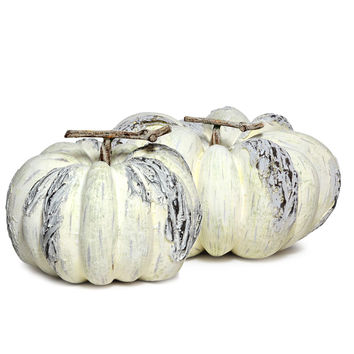 Distressed White Pumpkin Decoration Set