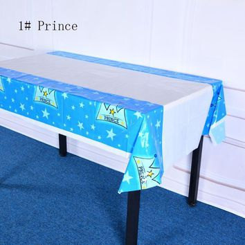 108*180cm=43*70inch plastic tablecloth Prince princess for Birthday Wedding Party Decoration baby shower gift craft DIY favor Wh