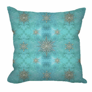 Sparkly Snowflakes throw pillow in teal