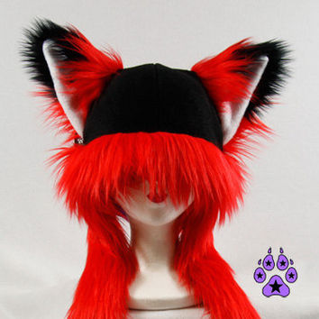 Red FOX kitsune cat Puffet Hat warm fleece ear flap strap furry goth anime cosplay ski handmade snowboard mens womens 1751