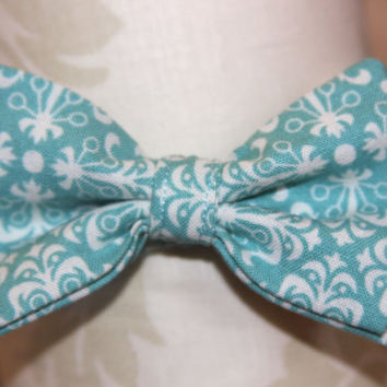 Teal Blue & White Damask Adjustable Bowtie ( Baby / Infant / Toddler Boy)