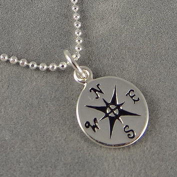 Tiny Sterling Compass Necklace - Nautical Theme - World Traveler - Graduation Gift