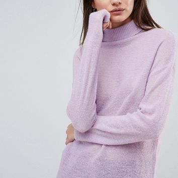 ASOS Jumper with High Neck in Mohair Blend at asos.com