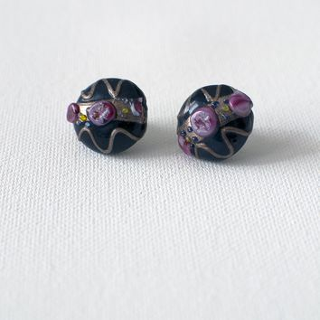 Vintage Black Fused Glass Earrings