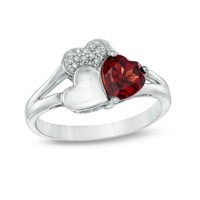 6.0mm Heart-Shaped Garnet and Diamond Accent Triple Heart Ring in Sterling Silver