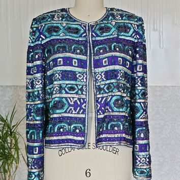 Vintage 1980s Silk + Sequin Cocktail Jacket