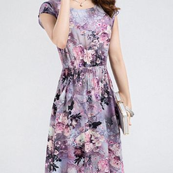 Casual Round Neck Slit Pocket Floral Printed Special Skater Dress