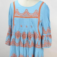 IVY JANE Turq and Orange Embroidered Bell Sleeve Tunic Top Size S