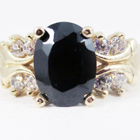 Black CZ 14k Yellow Gold CZ Accent Oval Ring, Engagement Ring, 14k Gold Oval Ring